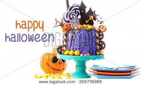 On Trend Halloween Candyland Novelty Drip Cake On White Background With Text.