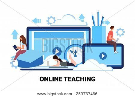 People Studying Computer Application Training Courses Education Online Teaching Business Concept Man