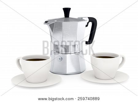 Moka Coffee Pot. Metal Italian Espresso Maker And Two Coffee Cups Isolated On White Background. 3d I
