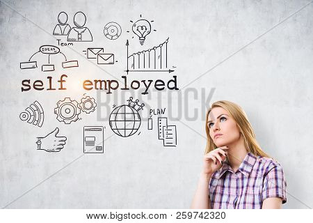Blonde Woman With Blue Eyes Looking At Self Employed Text And Icons On A Concrete Wall. Toned Image