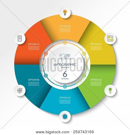 Circular Infographic Flow Chart. Process Diagram Circle Or Pie Graph With 6 Options, Parts, Segments