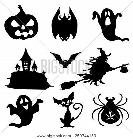 Haloween icons set in black. Simple illustration of Haloween vector icons for web