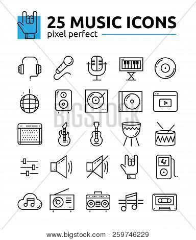 Monochrome Music Sound System Pixel Perfect Line Icons Set.music Keyboard, Radio, Electric Guitar, M