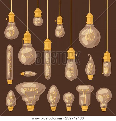 Light Bulb Vector Lightbulb Idea Solution Icon And Electric Lighting Lamp Illustration Set Of Realis