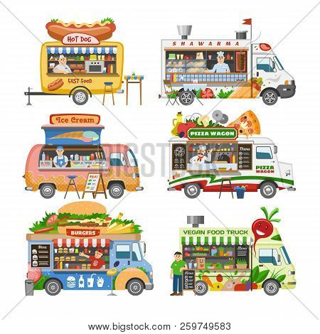 Food Truck Vector Street Food-truck Vehicle And Fastfood Delivery Transport With Hotdog Or Pizza Ill