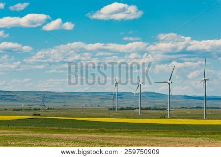 Power Generating Windfarm In The Prairies Of Southern Alberta Canada