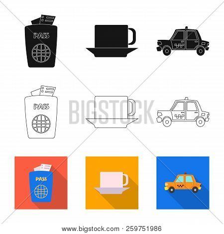 Vector Illustration Of Airport And Airplane Symbol. Collection Of Airport And Plane Vector Icon For