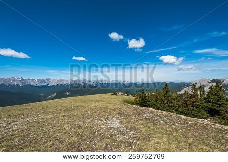 Scenic Hiking Views From The Top Of Prairie Mountain In Kananaskis Country Alberta Canada On A Hot S
