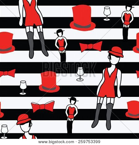 Cabaret Showgirl And Cancan Dancer With Burlesque Elements On Black And White Stripes Seamless Patte