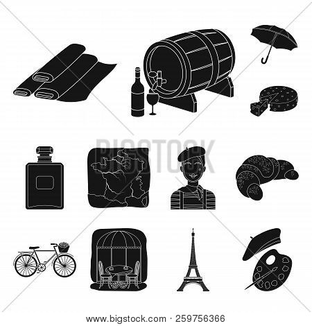 Country France Black Icons In Set Collection For Design. France And Landmark Vector Symbol Stock Web