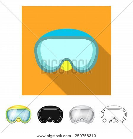 Vector Illustration Of Equipment And Swimming Symbol. Collection Of Equipment And Activity Stock Sym