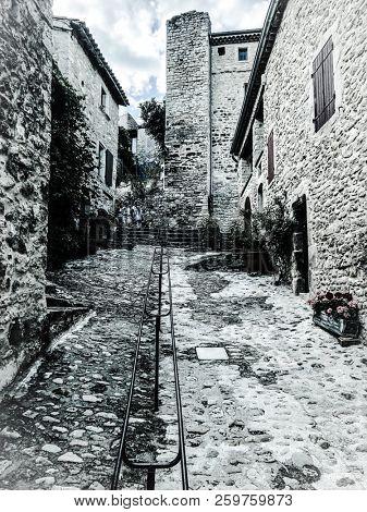 Street in the old village Le Poët-Laval, France, Provence