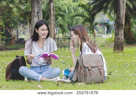 Asian Women Education, Campus, Friendship And People Concept Group Of Happy Teenage Students With Sc