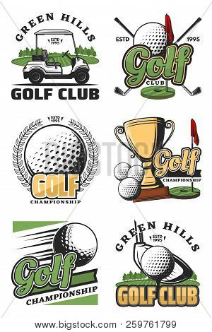 Golf Sport Championship Vintage Icons And Symbols. Golf Ball, Club And Tee, Flag, Green Field And Ho