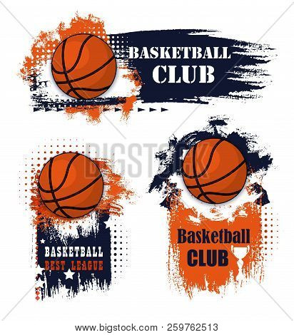 Basketball Sport Icons With Balls And Champion Trophy Cup. Basketball Game Competition With Grunge E