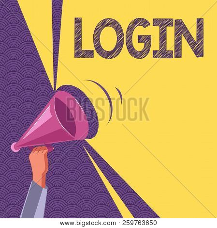 Conceptual hand writing showing Login. Business photo text Entering website Blog using username and password Registration poster