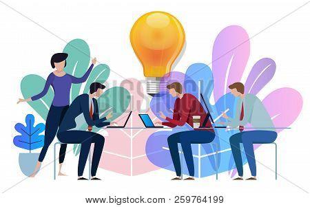 Idea Big Bulb Above. Business Team Working Talking Together At Big Conference Desk. Illustration On