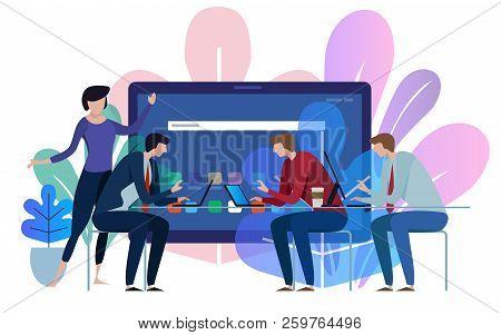 Tablet Device Screen. Business Team Working Talking Together At Big Conference Desk. Illustration On