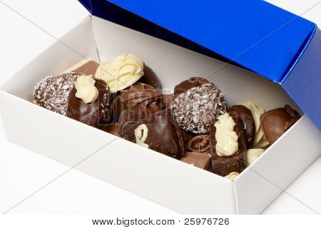 Assorted chocolate pralines in a box