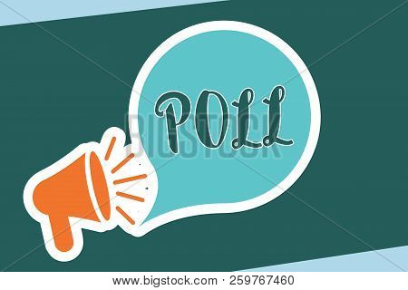 Word Writing Text Poll. Business Concept For Record Of The Number Of Votes Cast In An Election Proce