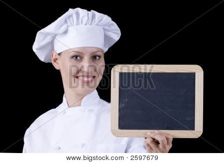 Smiling Female Chef - Add Your Menu/Message