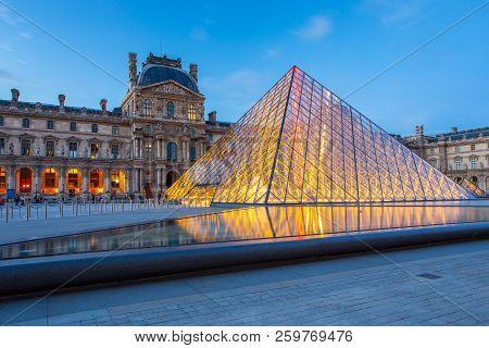 Paris, France - May 13, 2014: Louvre Paris Museum At Night In Paris, France