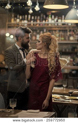 Meet, Proposal And Anniversary. Business Meeting Of Man And Woman. Couple In Love Meet At Restaurant