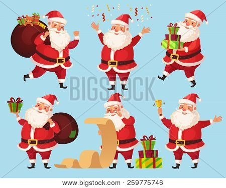 Christmas Santa Cartoon Character. Funny Santa Claus With Xmas Presents, Winter Holiday Characters V