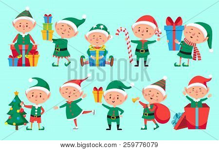Christmas Elf Character. Cute Santa Claus Helpers Elves. Funny Xmas Winter Baby Dwarf Characters Vec
