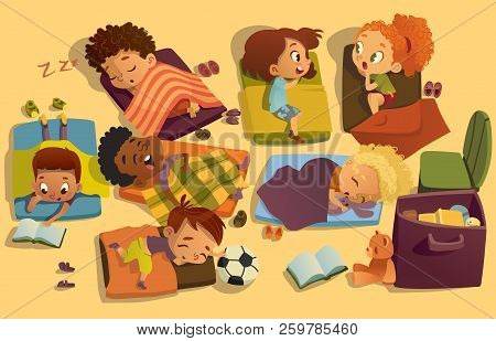 Nap Time In The Kindergarten. Group Of Multiracial Girls And Boys Have A Nip Time At A Colorfill Nap