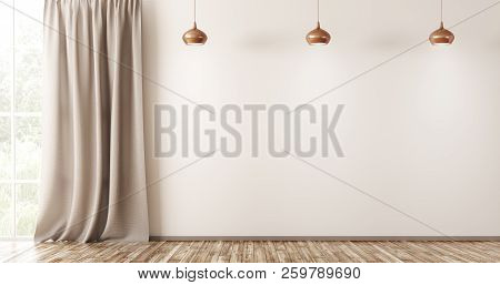 Empty Interior Background, Living Room With Beige Wall, Three Lamps And Window With Curtain 3d Rende