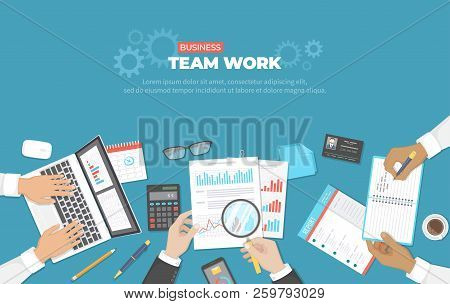 Business Meeting And Brainstorming. Office Team Work Concept. Analysis, Planning, Reporting, Consult