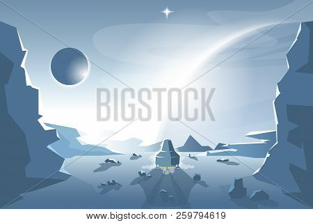 Start A Shuttle From An Unknown Planet. Eps 10 Vector Graphics. Layered And Editable.