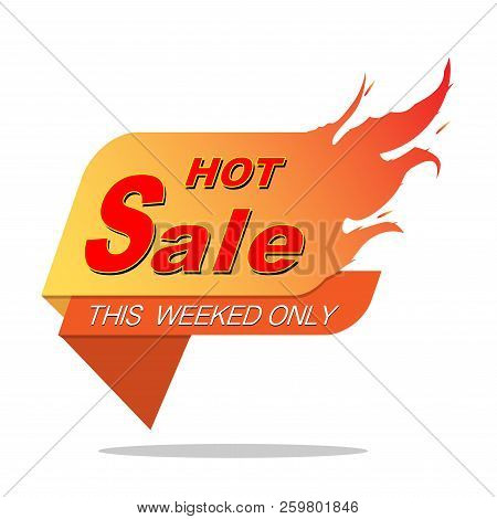 Hot Sale Price Offer Deal Vector  Designs With Flame. Vector Illustration