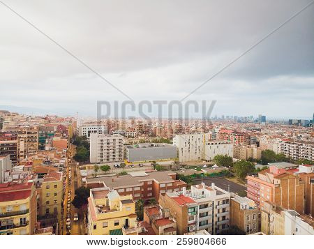 Aerial view Sants-Montjuic residential district from helicopter. Barcelona poster