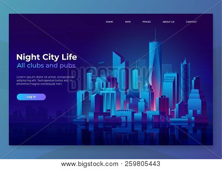 Night City Illustration. Landing Page Concept. Modern City Landscape On A Dark Background With Glowi