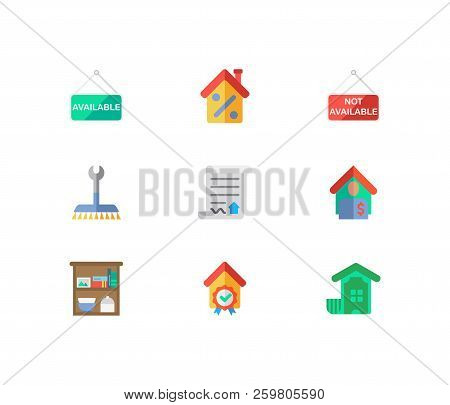 Building Icons Set. Tenant And Building Icons With House Not Available, Investment And Home Service.