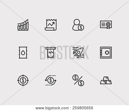 Investment icons set. Investment target and investment icons with way to success, gold and dividend. Set of salary for web app logo UI design. poster