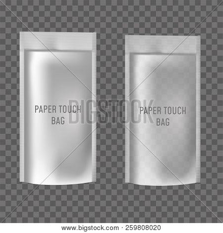 Blank Of Doy Pack For Food Or Drink On Transparent Background. Vector Illustration