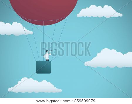 Business Vision Vector Concept With Businessman Flying In Hot Air Balloon In The Sky. Symbol Of Busi