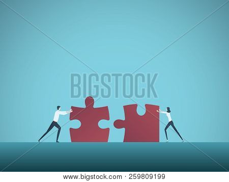 Business Teamwork Vector Concept With Businessman And Businesswoman Pushing Jigsaw Puzzles Together.
