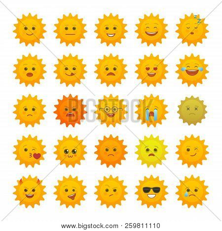 Yellow Sun Emoticons Isolated Set. Summer Sun With Angry, Joy, Love, Sad, Laugh, Happy Emoji. Social