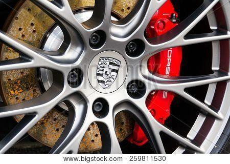 Prague, Czech Republic - September 22 2018: Porsche Automotive Company Logo On Wheel And Brakes In F