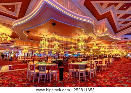 Las Vegas, Nevada, United States - August 18, 2018: Rows Of Blackjack Tables And Slot Machine Inside