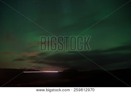 Northern Light Black Sky With Stars. Nature Miracles. Aurora Dark Sky. Amazing Nature Phenomena. Bes