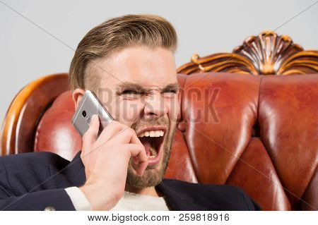 Angry Boss. Man Well Groomed Shout Aggressively Mobile Phone Grey Background. Businessman Angry Call