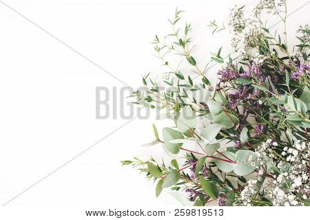 Wedding, Birthday Styled Stock Photo. Feminine Scene, Floral Composition. Bunch Of Eucalyptus Branch
