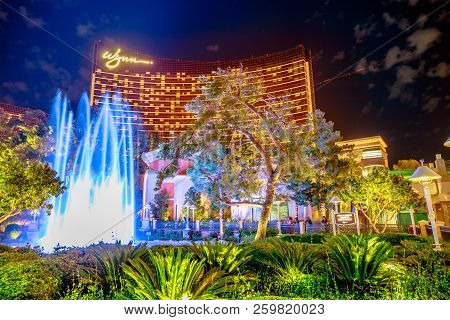 Las Vegas, Nevada, United States - August 18, 2018: Wynn Las Vegas Colorful Fountain Show By Blue Ho