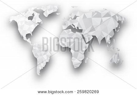 Gray Mosaic Geometric Abstract World Map With Shadow. Vector Paper Illustration.