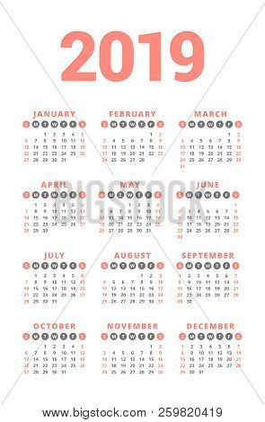 Calendar For 2019 Year On White Background. Week Starts On Sunday. 3 Columns, 4 Rows. Simple Calenda